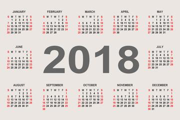 Calendar 2018 year vector design template