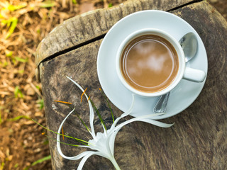Hot organic coffee in garden