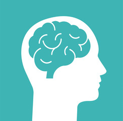 Human head with brain. Head with brain isolated on background. Vector stock.