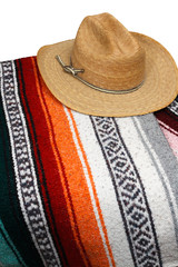 Mexican Western Cowboy Hat with Striped Blanket