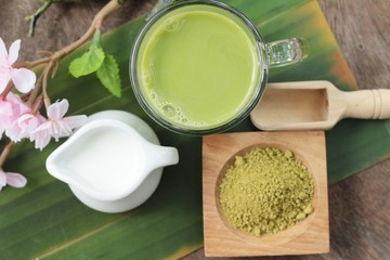 Green tea with milk and matcha tea powder
