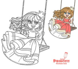 Beautiful princess riding on a swing  color and outlined picture for coloring book on white background