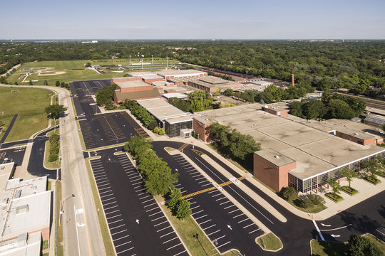 High School Aerial View with Ballfields