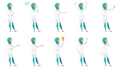 Young muslim doctor set. Doctor laughing, giving a speech, pointing to the side, standing with raised arms up, gesticulating. Set of vector flat design illustrations isolated on white background.
