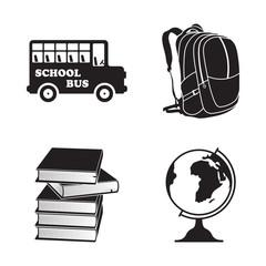 School isolated element icons set.