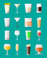 Alcohol drinks collection in glasses.
