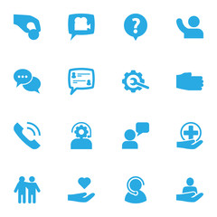 Set Of 16 Maintenance Icons Set.Collection Of Talk, Support, Call And Other Elements.