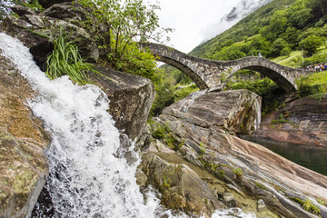 Water Cascading Over Rocks With A Stone Bridge In The Background