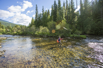 Angler and guide Tim Linehan fishes the Yaak River in remote NW Montana.