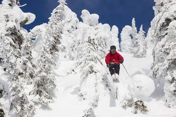 Male Skier At Whitefish Mountain Resort In Whitefish, Montana, Usa