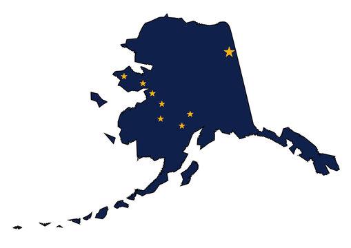 Alaska State Outline Map and Flag