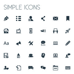 Vector Illustration Set Of Simple Blogging Icons. Elements Cedilla, Post, Man Considering And Other Synonyms Announcement, Notepad And Community.