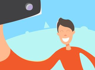 Taking Selfie Photo on Smart Phone. Vector Illustration. Selfie photos for social networks media.
