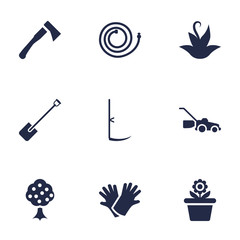 Set Of 9 Horticulture Icons Set.Collection Of Lawn Mower, Garden, Flowerpot And Other Elements.