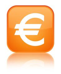 Euro sign icon special orange square button