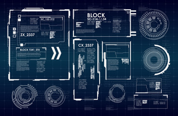 Abstract future, concept vector futuristic blue virtual graphic touch user interface HUD. Futuristic HUD background.