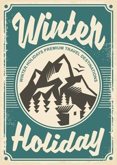 Winter holidays travel destinations, retro poster design on old paper texture
