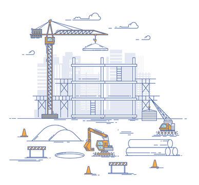 Construction site, building a house. Thin line flat design modern vector illustration concept.