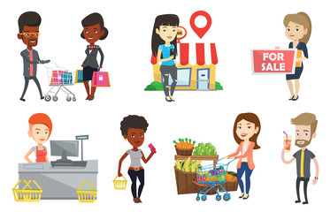 Cashier standing at the checkout in supermarket. Cashier working at checkout in a supermarket. Cashier standing near cash register. Set of vector flat design illustrations isolated on white background