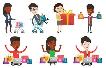 Young carefree customer having fun while riding in supermarket cart. Man with a lot of shopping bags sitting in supermarket cart. Set of vector flat design illustrations isolated on white background.