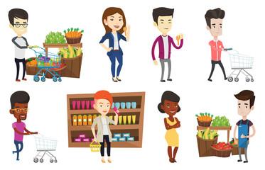 Man pushing supermarket cart with some products in it. Man shopping at supermarket with cart. Man buying products in supermarket. Set of vector flat design illustrations isolated on white background.
