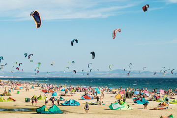 Tarifa beach. One of the best places to practice kitesurfing