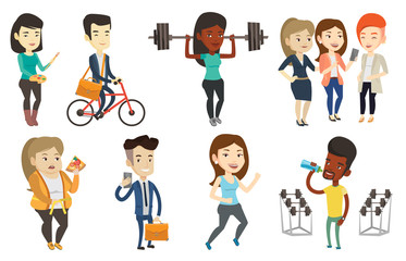 Sporty woman lifting a heavy weight barbell. Strong sportswoman doing exercise with barbell. Female weightlifter holding a barbell. Set of vector flat design illustrations isolated on white background