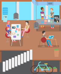 modern IT office. Business People Working Office Corporate Team Concept. Shared working environment.
