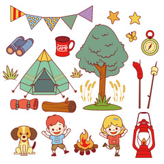 camping outdoor child clipart vector set