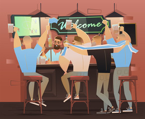 Beer bar - Restaurant. Football fans celebrate victory. Football match, bar with bartender, alcohol drinks and friends. vector