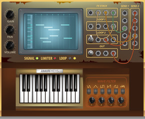 Retro music interface and elements. Virtual graphic. Analogue user interface. Mixer. Equalizer. Drum pad. Synthesizer.