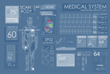 Ultrasound and cardiogram. Futuristic Medical Interface, virtual graphic touch UI with illustration of Scan