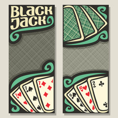 Vector banners for Blackjack gamble: green backs playing cards on table top view, invite ticket in casino, blackjack win card combinations, templates with gray background for text on black jack theme.