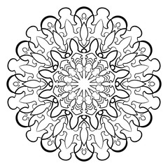 Monochrome mandala for color book. Symmetrical pattern in the circle.  Illustration for scrapbook. Pattern for printing on fabrics. Figure for relaxation and meditation.