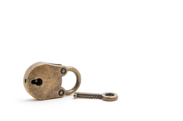 Vintage lock and key isolated on white background.