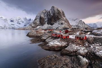 Hamnoy fishing village-foot of 389 ms.Festhaeltinden mount. Moskenes kommune-Moskenesoya-Lofoten-Norway. 0208