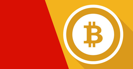 Card with bitcoin symbol.  Coin symbol Electronic currency. Vector image.