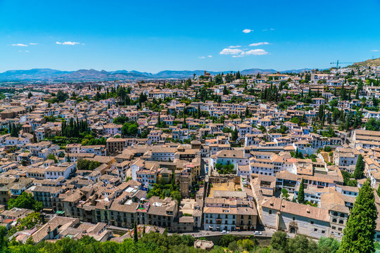 Granada, Spain, juli 1, 2017: View on Granada from the old city of La Alhambra