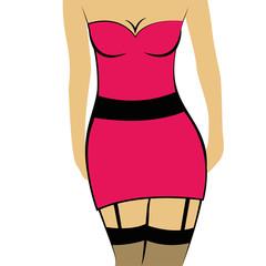 sexy lady im pinken minikleid