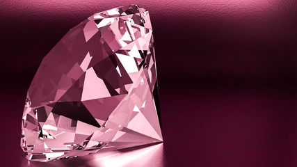 3d render of diamond with red light and black background
