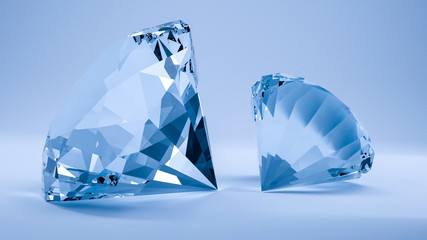 3d render of diamonds with turquoise light