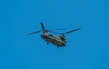 Big Chinook helicopter in the air