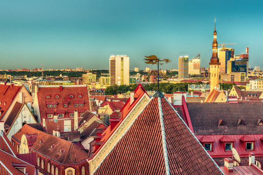 Tallinn, Estonia: aerial top view of the old town at sunset
