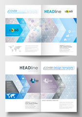 Business templates for brochure, magazine, flyer, booklet. Cover design template, abstract flat layout in A4 size. Molecule structure on blue background. Science, healthcare, medical vector
