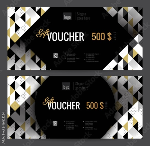 elegant gift certificate template with gold black and white triangle pattern - Shopping Certificate Template