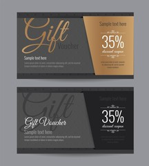 Gift voucher gold card and back card premium coupon. Design usable for gift coupon, voucher, invitation, certificate, diploma, ticket etc. Vector illustration