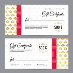 Gift Voucher template with floral pattern and red bow/ ribbons. Design usable for gift coupon, voucher, invitation, certificate, diploma, ticket etc. Vector illustration