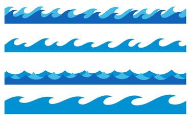 Hand drawn ocean waves endless borders set