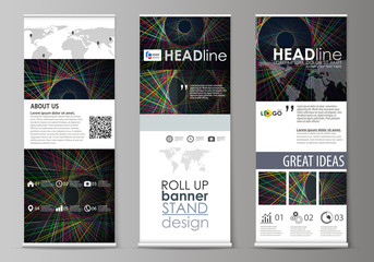 Set of roll up banner stands, flat design templates, abstract geometric style, corporate vertical vector flyers, flag layouts. Bright color lines, colorful beautiful background. Perfect decoration