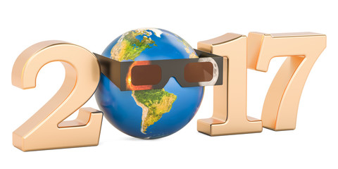 Solar Eclipse 2017 concept, Earth Globe with solar eclipse glasses. 3D rendering